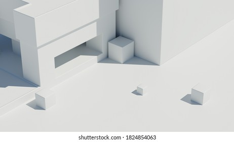 3d render of bright abstract architecture geometry. Bright light with sharp shadows. Minimalism.