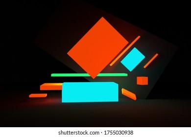 3d render bright geometric illustration