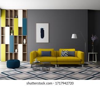 3d render. Bright interior - living room