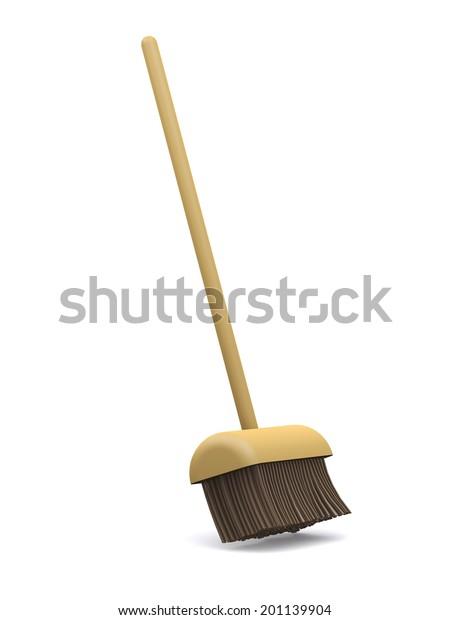 3d render of a broom sweeping