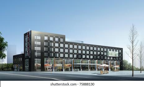 3D render of a building