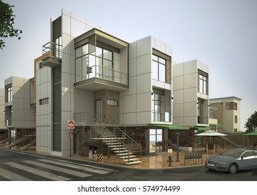 3D render building, house