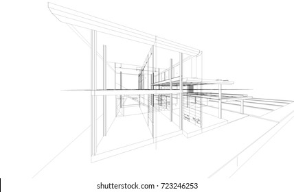3D render of building wireframe structure. Abstract construction graphic idea.