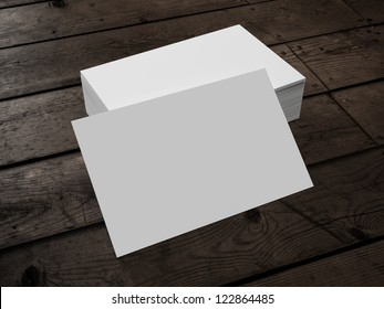 3d render of Business Card on Wood