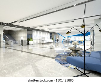 3d render of business center interior