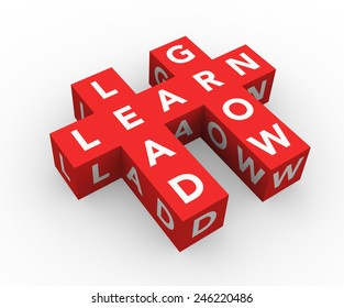 3d render business concept Learn, Lead, Grow with eleven red cubes on a white background.