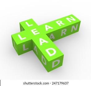 3d render business concept Learn and Lead with eight green cubes on a white background.