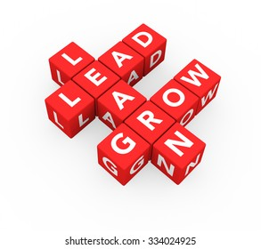 3d render business concept Learn, Lead, Grow with eleven crossword red cubes on a white background.