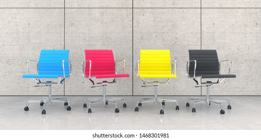 3d render of business lounge with four colorful chairs in cmyk