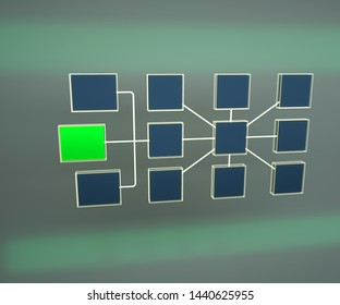 3d render of business network topology. Structure of network topology. Network connections. Teamwork