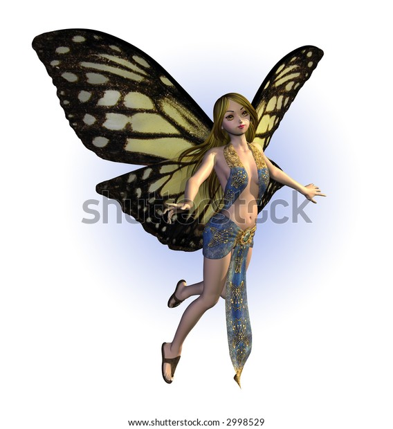 3D render of a butterfly fairy.