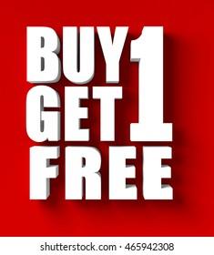 3d render of  buy 1 get 1 in red blackground