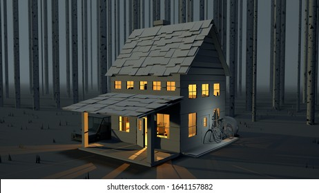 3D Render of cabin in the woods at night. Warm lights glowing from this welcoming fall/ winter scene.