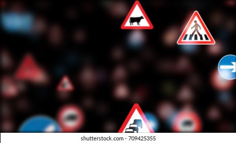 3d render. Camera fly through a Traffic Sign on black background. More options in my portfolio. Too many traffic signs.