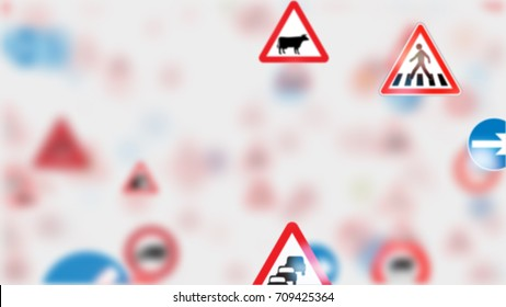 3d render. Camera fly through a Traffic Sign on white background. More options in my portfolio. Too many traffic signs.