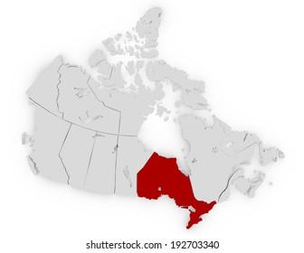 3d Render of Canada Highlighting Ontario