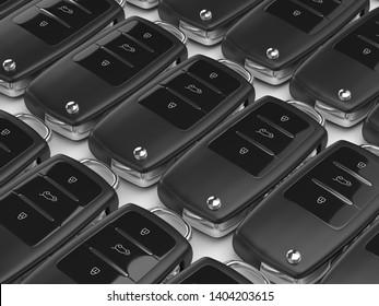 3d render of car keys in row lying on white background