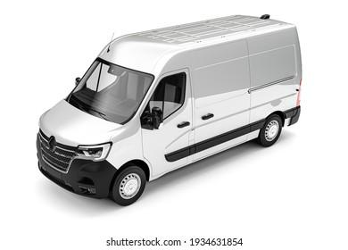 3d render of cargo van on white background