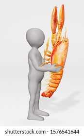 3D Render of Cartoon Character with Cooked Lobster