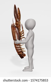 3D Render of Cartoon Character with Lobster