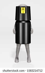 3D Render of Cartoon Character with Pepper Spray