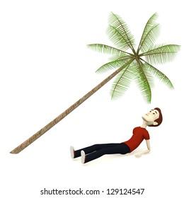 3d render of cartoon character relaxing under palm