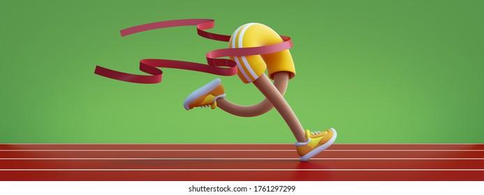 3d render cartoon character runs. Athlete crosses finish line, stadium track, waving red ribbon. The fastest runner wins