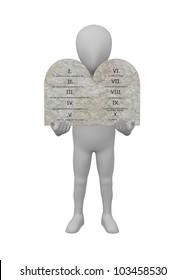 3d render of cartoon character with ten commandments