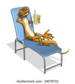 3d render of a cartoon gecko relaxing on a lawn chair with a glass of lemonade.