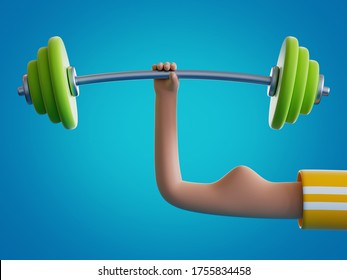 3d render cartoon hand holds barbell, isolated on blue background. Weight power lifting at home. Bodybuilding exercise, extraordinary achievement. Funny surrealistic clip art, unusual sport motivation