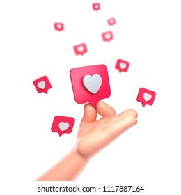 3d render. Cartoon Hand. Like heart icon on a red pin isolated on white background.