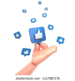 3d render. Cartoon Hand. Like icon on a blue pin isolated on white background.