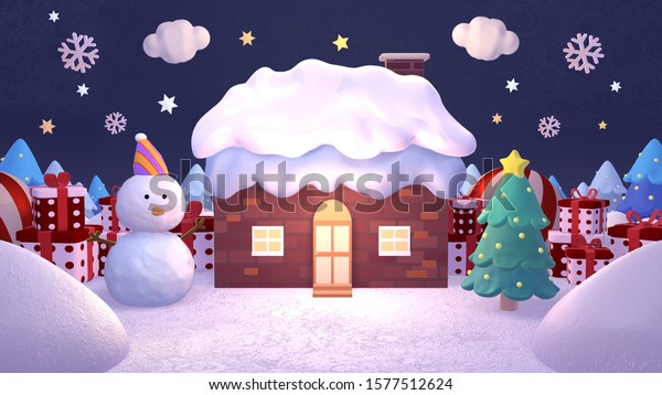 3D render cartoon house in the snow, snowman, Christmas tree, and gift boxes. Merry Christmas and Happy New Year greetings.