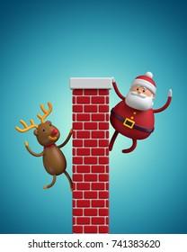 3d render, cartoon Santa Claus and Reindeer climbing the chimney, red bricks wall, digital illustration
