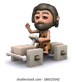 3d render of cave man in square wheeled car