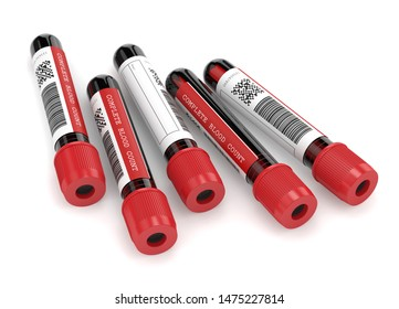 3d render of CBC blood tubes over white background