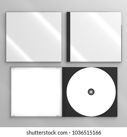 3d render of a cd dvd compact disc plastic box mockup on grey background. Top view.