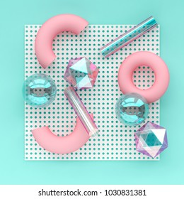 3d render chaotic composition with geometric elements. Spheres, tubes, torus on dotted paper background for social media banners and promotion. Blue, pink and holographic colors trendy design.