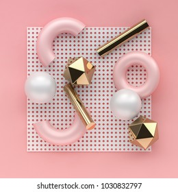 3d render chaotic composition with geometric elements. Spheres, tubes, torus on dotted paper background for social media banners and promotion. White, pink and golden colors trendy design.