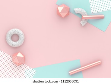 3d render chaotic composition with geometric elements. Paper, tubes, torus on pastel background for social media banners and promotion. Blue, pink and white colors trendy design.