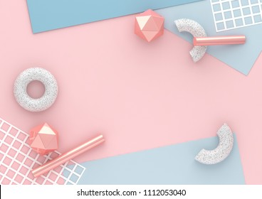 3d render chaotic composition with geometric shapes elements. Paper, tubes, torus on pastel background for social media banners and promotion. Blue, pink and white colors trendy design.