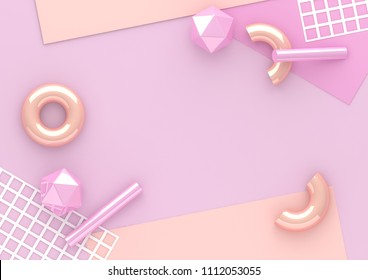 3d render chaotic composition with geometric elements. Paper, tubes, torus on pastel background for social media banners and promotion. Purple and beige colors trendy design.