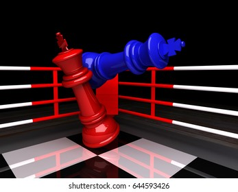 3D render of Chess game,Blue chess king is checkmated, The game is over, Red chess king is fallen.