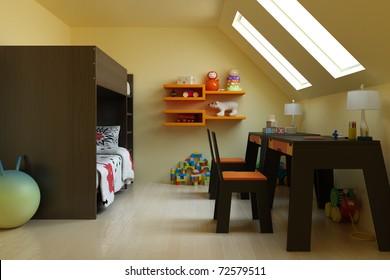 3d render children's room