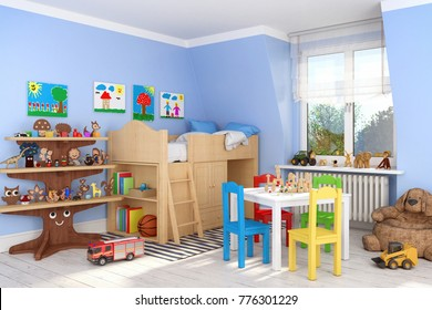 3d render of a children's room with bed and toys - boy