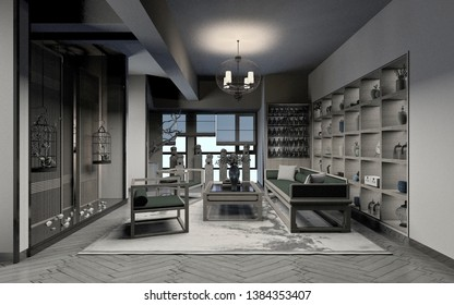 3d render of chinese living room