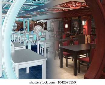 3d render of a Chinese restaurant interior