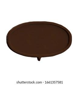 Rendu en 3D du discours de bulle de chocolat sur fond blanc.