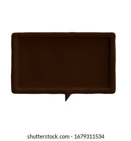 3D render of chocolate bubble speech on white background