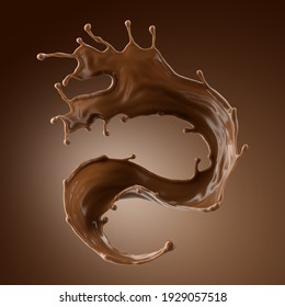3d render, chocolate splash, cacao drink or coffee, splashing cooking ingredient. Abstract wavy dynamic liquid. Brown beverage clip art isolated on brown background